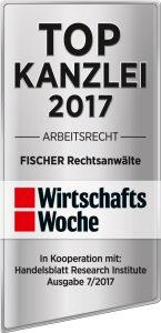 WiWo_TOPKanzlei_Arbeitsrecht2017_FISCHER_Rechtsanwaelte-145x300